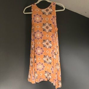 flowy tank top yellow patterned dress